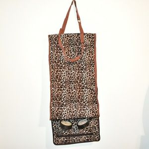 Handbags - LEOPARD PRINT FOLD UP TOTE ON WHEELS NWOT